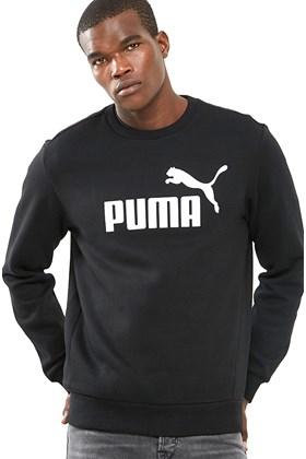 Moletom Puma Essentials Logo Big Crew Sweat Careca Preto
