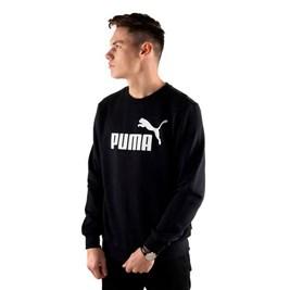 Moletom Puma Essentials Logo Big Crew Sweat Careca Preto/Branco