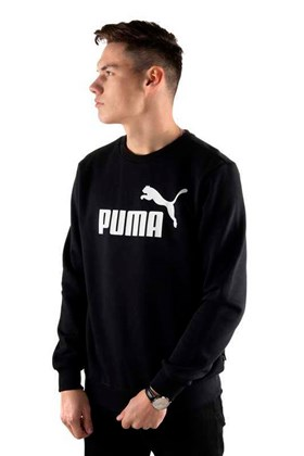 Moletom Puma Essentials Logo Big Crew Sweat Careca Preto/Branco