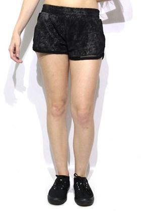 Shorts Boxer Mary Jane com tela Feminino Preto